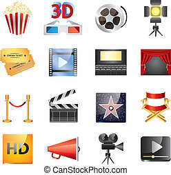 popular cinema icons vector set - twelve popular cinema...