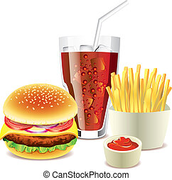 hamburger, cola and french fries photo realistic vector