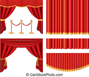 red theater curtains vector set