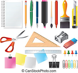 drawing and office tools vector set - drawing and office...