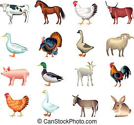 farm animals vector set - popular farm animals photo...