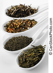 Different sorts of green tea, from left to right: white cui...
