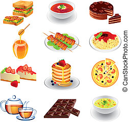 different types of food photo realistic vector set