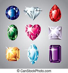 diamantes, piedras preciosas, vector, Conjunto