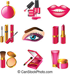 cosmetics and make up icons set - cosmetics and make up...