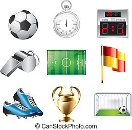soccer icons vector set - basic soccer game icons detailed...