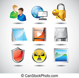 computer system icons vector set - computer system icons...