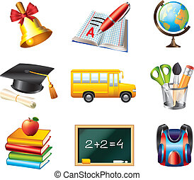 school icons vector set - basic school and education icons...