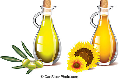 olive and sunflower oils isolated on white photo realistic...