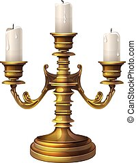 candlestick and three candles - three large candle in a...