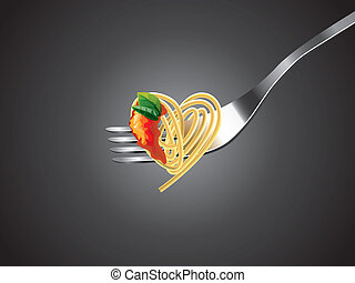 spaghetti on fork with tomato sauce and basil...