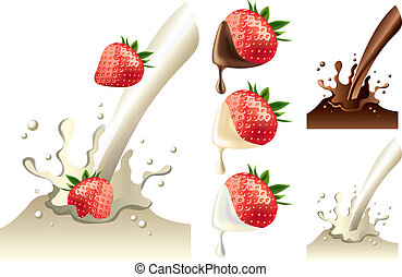 strawberry in milk and chololate splash