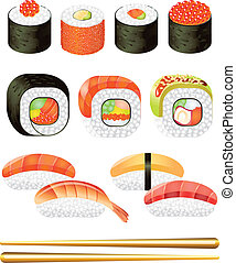colorful sushi rolls vector set - colorful sushi rolls photo...
