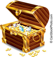 opened treasure chest with treasures photo realistic vector