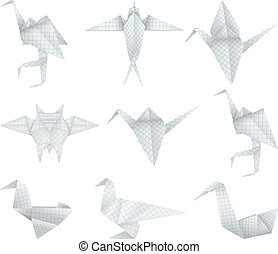 Origami birds set - A paper origami birds collection.
