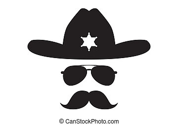 sheriff with bushy mustache - Usatii cowboy Sheriff in...