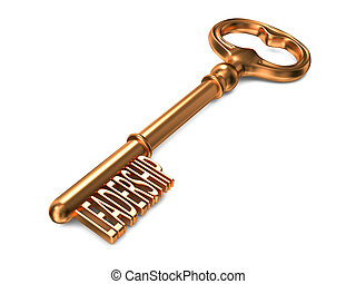 Leadership - Golden Key. - Leadership - Golden Key on White...