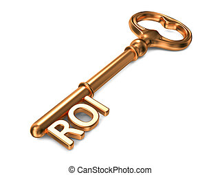 ROI - Golden Key. - ROI - Golden Key on White Background. 3D...