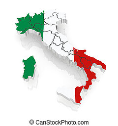 Three-dimensional map of Italy.