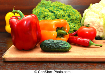 Fresh veggies - Set of fresh vegetables on the kitchen table
