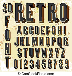 3D Retro type font, vintage typography with grunge...