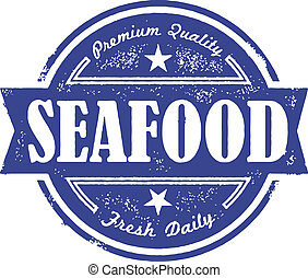 Vintage Fresh Seafood Label - Vintage style distressed...
