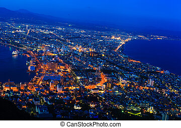 Hakodate Cityscape from Mt.Hakodate Hakodate, Japan. The...