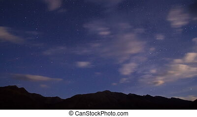 Night in the mountains. Time Lapse