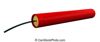 Dynamite - 3d render of dynamite stick isolated over white...
