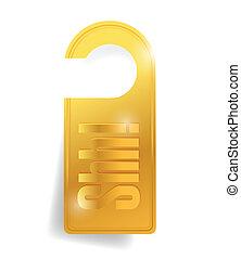 shh door hanger for a hotel. illustration design over a...