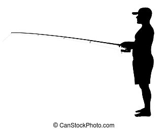 Fisherman - Vector illustration of fisherman silhouette