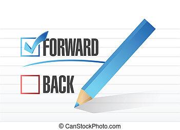 forward over back. checkmark illustration