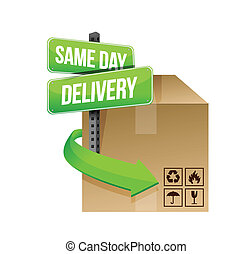 same day delivery illustration design over a white...