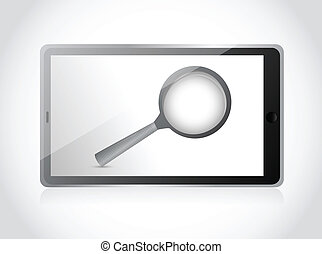 tablet search concept illustration design over a white...