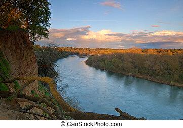 scenic river landscape - American river near Sacramento in...