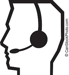 headset symbol (man headset, call center icon, face with...