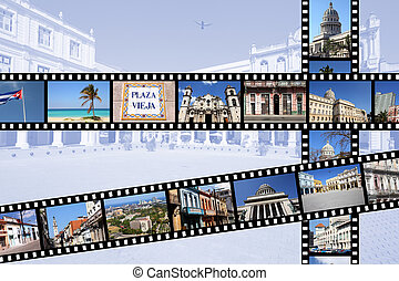 Cuba - Havana - Havana, Cuba Illustration - film strips with...