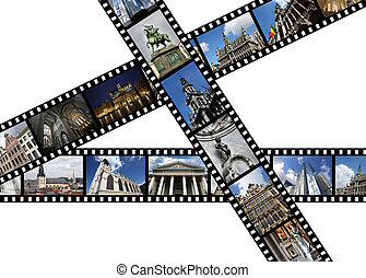 Bruxelles - Illustration - film strips with travel memories....