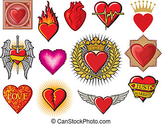 heart collection hearts set, flaming heart, heart in flame,...