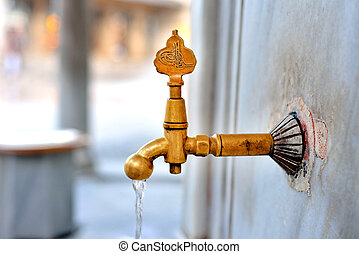 Date of ablution tap made ??of brass - Antique Turkish...