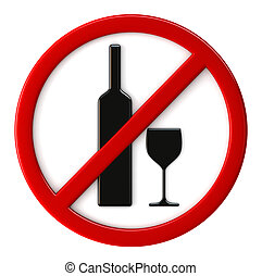 Alcohol not allowed - 3d render of alcohol not allowed sign