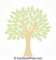 Stylized tree with green leaves - Stylized vector tree with...