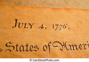 United States Declaration of Independence - Closeup of the...