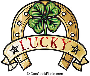 Horseshoe and four leaf clover - lucky symbol four leafs...