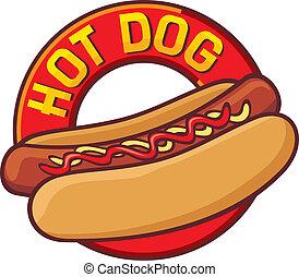 quentes, cão, etiqueta