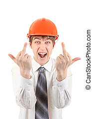 Teenager in Hard Hat shows Middle Fingers - Extremely Angry...