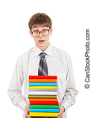 Surprised Student holding Pile of the Books - Surprised...