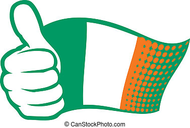 Ireland flag (Flag of Ireland). Hand showing thumbs up