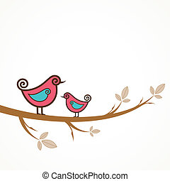 Funny yellow birds on the string