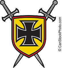 heraldic composition - shield, crossed swords and cross coat...